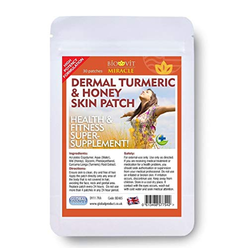 VYTALIVING Biovit Miracle Turmeric and Honey Patches (1 Pack, 30 Patches) - Dermal Super Strength Health and Fitness Supplement, Immune System Booster - Anti-Inflammatory - Antioxidant Properties