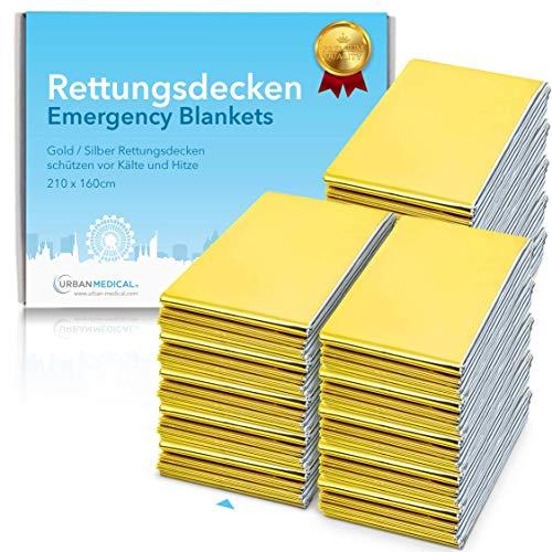 Premium Rettungsdecke von Urban Medical ® | Erste Hilfe Rettungsfolie | 5-15 Stück | Gold / Silber | 210 x 160 cm | wasserdichte Notfalldecke | Kälteschutz | Hitzeschutz | Autozubehör |