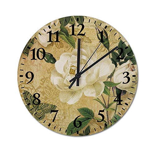 TattyaKoushi Fashion Wooden Wall Clocks Home Decor Retro Rose Pattern