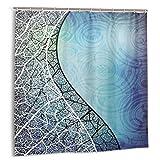 LarissaHi Vectores de Fondo Azul y Curva de GraphicRiver, Cortina de Ducha de decoración del hogar 60inX72in