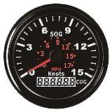 TONG Medidor de velocidad impermeable del velocímetro del GPS 0-15Knots con el curso para la pantalla digital de 3-3/8 pulgadas (85mm) 12V 24V