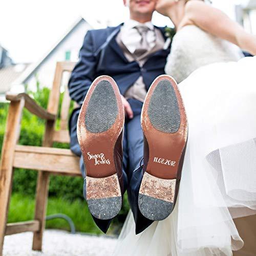 Schuhaufkleber Hochzeit personalisiert für Brautschuhe und Bräutigam