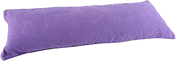 Full Length Lavender Purple Microsuede Double Zippered Body Pillow Case Cover