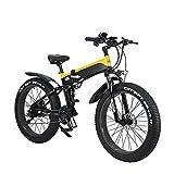 WBYY Bicicleta Eléctrica Plegable para Adultos, Bicicleta Electrica Montaña de 26 Pulgadas, 500W 48V/12.8AH con la Pantalla LCD, 21 Velocidades, 3 Modos,Amarillo