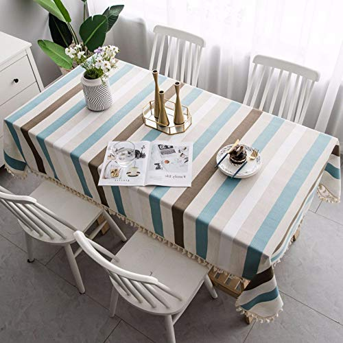 HTUO Home Decoration Cotton Linen Tablecloth Christmas Decoration Table Cover Waterproof Tablecloth Anti Scalding Oil Proof Table Cloth Coffee Table Living Room Outdoor 140 * 260cm