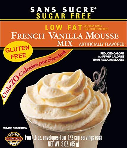 Sans Sucre Mousse Mix - SUGAR FREE, LOW FAT French Vanilla TWO 1.5 OZ ENVELOPES NET WT. 3 OZ. (85G)