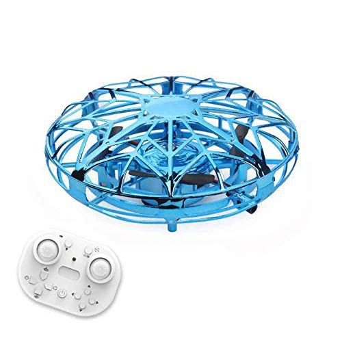 BENREN Mini Drones Operados con Control Remoto, Juguetes de Drones de Bola Voladora de Orbe Pequeños Fáciles de Interior, Helicóptero de Drones de Mano, para Niños O Adultos,Blue