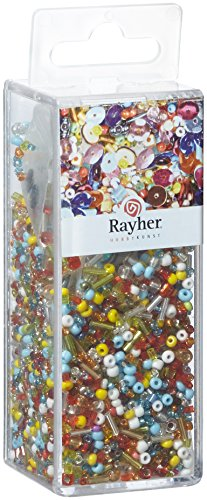 Rayher 24086000 Pailletten-/Glasperlenmix, bunte Mischung, 90 g und 50 m Draht 0,3 mm ø, Bastelperlen, Rocailles, Pailletten, Wachsperlen, Fädeldraht