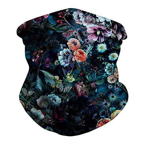 Skull Tie-Dye Face Mask Bandanas Dust Sun Protection Cooling Neck Gaiter Scarf Balaclava Headwear for Men Women (Q1-Flower)