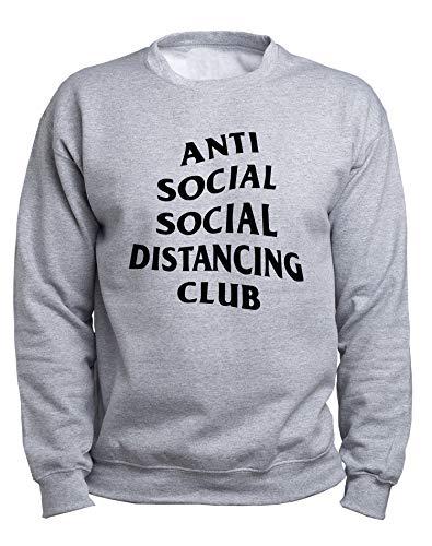 EUGINE DREAM Social Distance Antisocial CoronaVirus Sweater Unisex Sudadera Gris 4XL