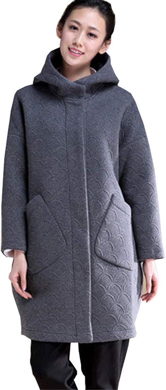 Beltnossnk Women Large Size MiddleAged Outerwear Plus Velvet Hooded Woolen Jacket