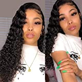 Aopusi Deep Wave Human Hair Wigs Curly Lace Front Wig Glueless Brazilian Virgin Remy Hair Wig Deep Wave Wig with Baby Hair Lace Wig for Black Women Free Part 13x4 Ear to Ear (16,Natural Color)