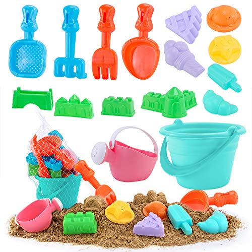 YouCute Beach Toys for Kids Sand Toys for Toddlers Sandbox 20 Pieces Include Play Sand Bucket Shovel Tool Food Building Castle Fun Summer Outdoor Games Outdoor Play Set for Boys Girls