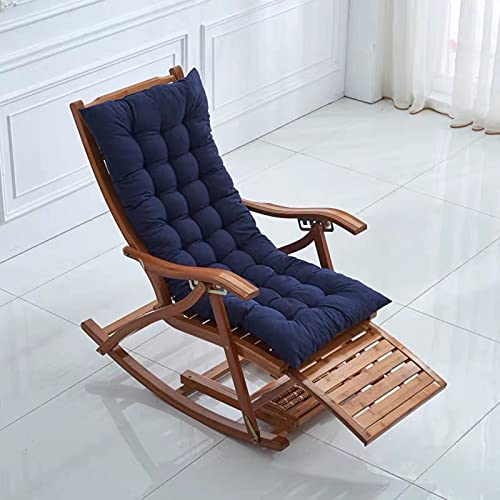 Terrace Armchair Cushion,foldable High Back Chair Cushion Thicken Sun Lounger Garden Slip Leisure Universal Chair Cushion 125x48CM (Excluding chair)Navy