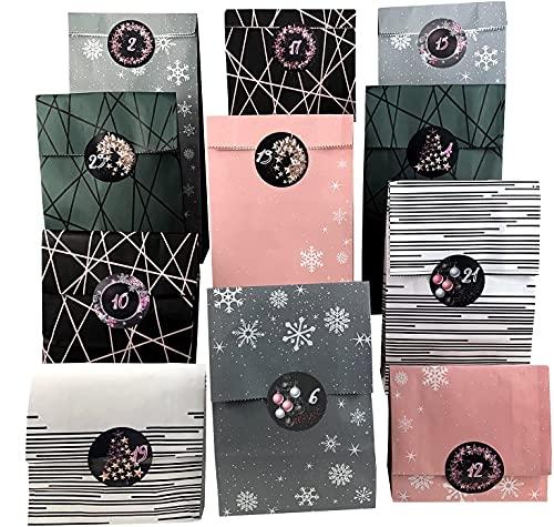 endlos schenken Adventskalender zum Befüllen - 25 Papiertüten zum Basteln rosa grau Weihnachtskalender DIY Basteln selber befüllen (Nr. 21)