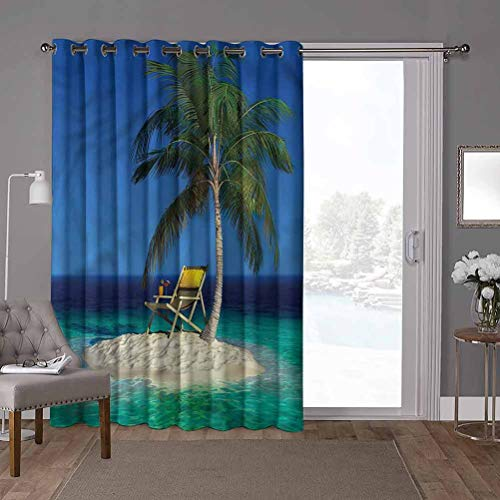 YUAZHOQI Energy Efficient Sliding Patio Door Curtain Panel, Seaside,Island Palm Trees Ocean, W52 x L84 Inch Full Shading Curtain for Patio Door(1 Panel)