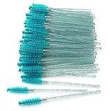 GreenLife 50 pcs/100 pcs/150 pcs/200 pcs/300 pcs/400 pcs/600 pcs/800 pcs Eyelash Brush Mascara Wands Applicator (crystal 50Pcs, Blue)