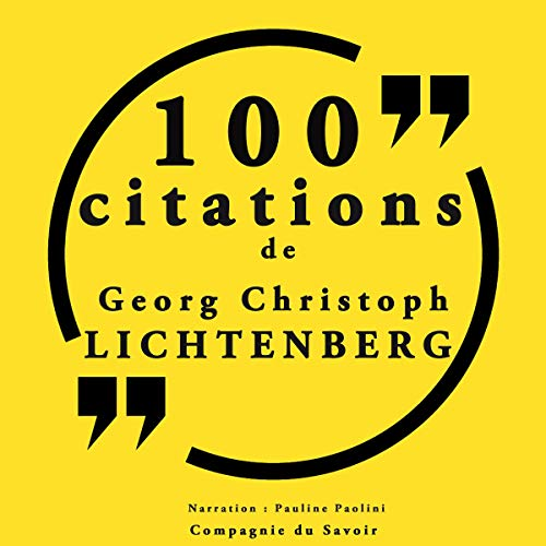 Couverture de 100 citations Georg Christoph Lichtenberg