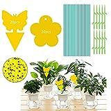 Lnmyic Adesivo giallo contro le zanzare gialle su entrambi i lati, trappola gialla per piante da interni, piante in vaso, ecologico/atossica