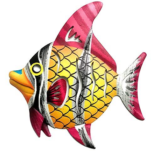 CENPEK Decoración de pared de peces de metal, arte de cristal, color...