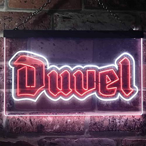 zusme Duvel Beer Home Bar Novelty LED Neon Sign White + Red W30cm x H20cm