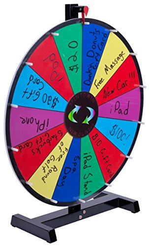 Promotional Prize Wheel with 24' Write-on Surface for Wet or Dry-Erase Markers, 14 Prize Slots, Black Wooden Base for Tabletop Use, Carrying Bag Included