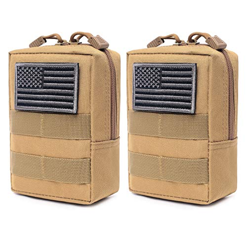 2 Pack Molle Pouches - Tactical Compact Water-Resistant EDC Pouch (Tan)