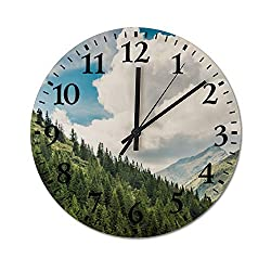 Lutd23apir 10 Inch Wall Clock Beautiful Nature in Romanian Mountains Round Wooden Clocks Silent & Non-Ticking Rustic Country Home Decor for Office Living Room,Kitchen,Bedroom Housewarming Gift