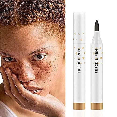 Penna lentiggine, penna per trucco lentiggini finte, marrone chiaro e marrone scuro, naturale realistica, penna a puntino morbido, durevole impermeabile strumento per il trucco lentiggine
