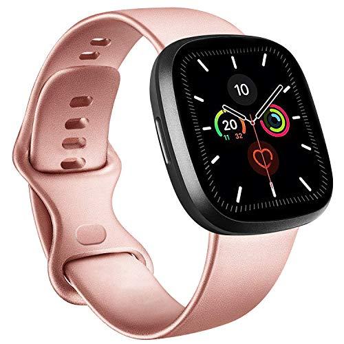 RAZAN Silicona Correa Compatible con Apple Watch 38mm 42mm 40mm 44mm,Pulseras de Repuesto de Silicona Suave para iWatch Series 6 5 4 3 2 1 SE(38mm/40mm M/L, Oro Rosa)
