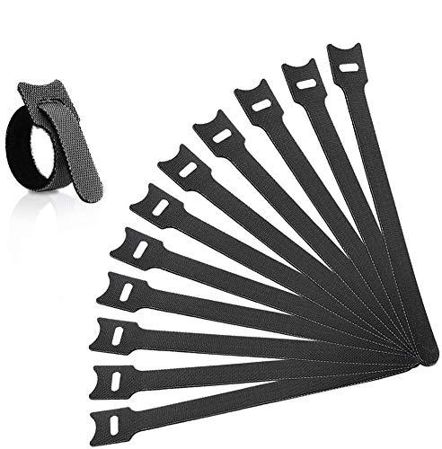 Kabel Klettband, 150 x 12 mm Kabelbinder Schwarz Klettverschluss Selbstklebend Kabelbinder Wiederverschließbar mit Hochwertigem Nylonmaterial,60 Stück