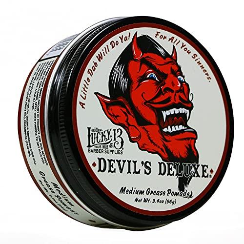 Lucky 13 Devil's Deluxe Medium Grease Pomade 3.4oz   Oil Based   Medium Hold   Medium Shine