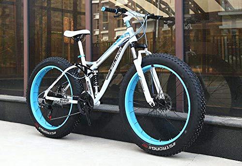 Mountainbike met dikke band voor volwassenen, frame van koolstofstaal, frame met dubbele ophanging van Hardtail, dubbele schijfrem, band van 4,0 inch