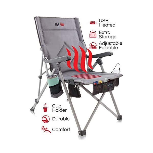 POP Design, The Hot Seat, Heated Portable Chair, Perfect for Camping, Sports, Beach,...