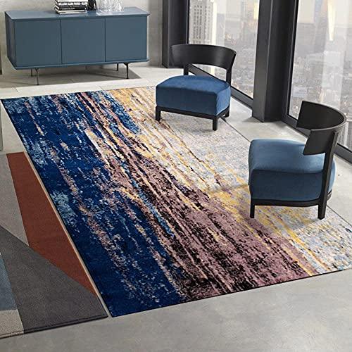 AU-OZNER goedkope tapijt, Blauw bruin tapijt, inktpatroon ademend kantoor stoel mat stofdicht tapijt, goedkoop tapijt -Basket_160x200cm