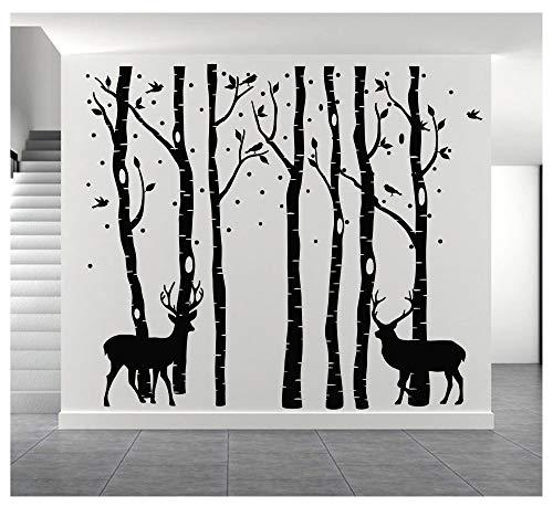 BDECOLL Set von 7 Wandaufkleber Birke Schwarz Wandaufkleber Baum Kinderzimmer Big Baum Wand Aufkleber für Wohnzimmer