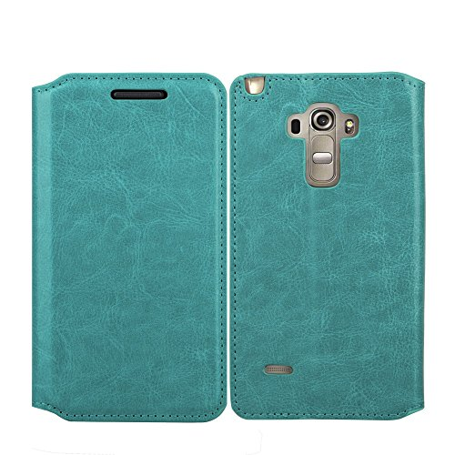 LG G Vista 2 Case, LG G Stylo Case, Magnetic PU Flip Leather Wallet Folio Pouch Case Cover with Fold Up Kickstand and for LG G Vista 2 / LG G Stylo, Turquoise Wallet