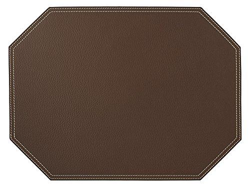 Nikalaz Set de Table, 1 pièce, Octogone, 40 x 30 cm, en Cuir Naturel Recyclé, Décor de Table (Marron)