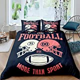 Football Duvet Cover Double Helmets Comforter Cover American All Stars Football Games Bedding Set For Kids Teen Boys Young Man More Than Sport Quilt Cover With 1 Pillow Case Twin Size Navy Blue