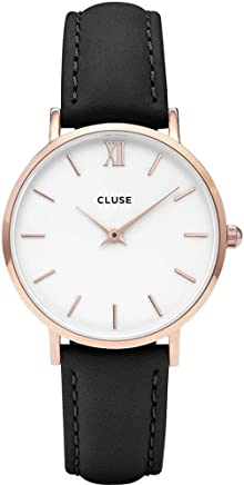 CLUSE Minuit Rose Gold White Black CL30003 Womens Watch 33mm Leather Band Minimalistic Design Casual Dress