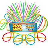 PartySticks Glow Sticks Party Supplies 100pk - 8 Inch Bulk Light Up Sticks Party Favors, Glow in The Dark Party Decorations with Connectors for Glow Necklaces, Light Up Glasses, and Glow Flowers