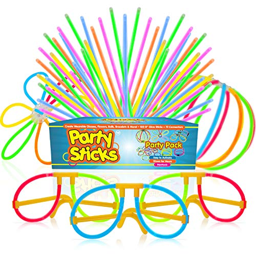 Glow Sticks Party Supplies 100pk - 8 Inch Bulk Glow Light Up Sticks Party Favors, Glow in The Dark Party Decorations with Connectors for Glow Necklaces, Light Up Glasses, and Glow Flowers