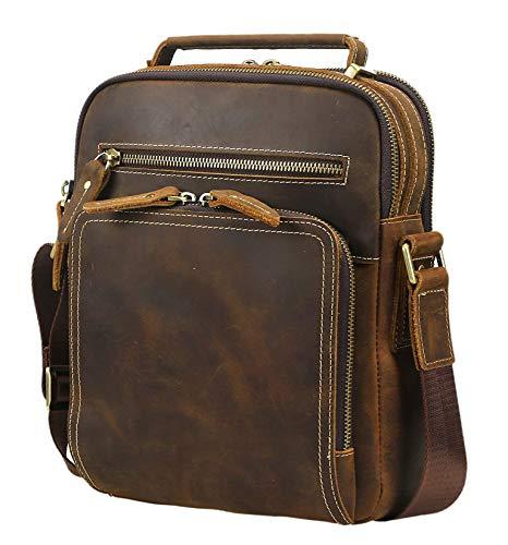 Lannsyne ショルダーバッグ 斜め掛けバッグ メンズ 本革 オイルレザー 大容量 9.7インチiPad対応 カジュアル 通勤 アウトドア 鞄 ダークブラウン