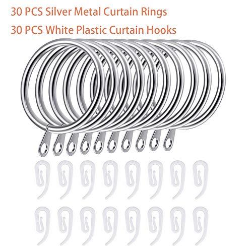 Kungfu Mall30 PCS Silber Metall Vorhang Ringe Hängend Ringe, 30 PCS Weiß Kunststoff Vorhang Hakenzum Türvorhang, Fenstervorhang hängen