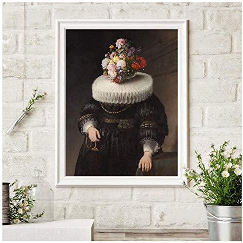 Collage Art antiek schilderij bloemenmasker Nederlandse portretafdrukken Surreal schilderij Eklectische kunst Canvas schilderij kunstwerk decor-50x70cm (geen lijst)