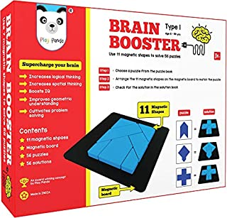 PLAY PANDA Brain Booster Type 1 (Junior) - 56 Puzzles Designed to Boost Intelligence - with Magnetic Shapes, Magnetic Boar...