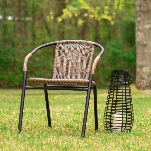 Flash Furniture Dark Brown Rattan Indoor-Outdoor Restaurant Stack Chair (Dark Brown, 8 Pack)