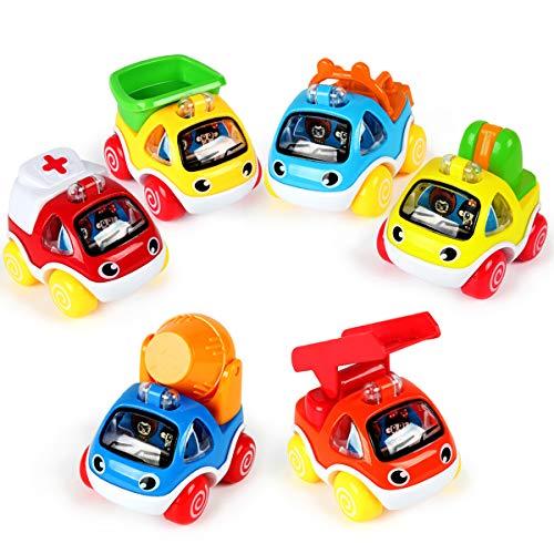 fiouni Push and Go Spielzeugautos Reibungsgetriebene Autos Spielzeugbauautos Spielzeugset für 1,2,3,4,5 jährige Jungen und Mädchen (Bauwagen 6tlg. Zurückziehen)