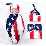Newborn Swaddle Blanket Baby Receiving Blanket with Beanie Hat, American US Flag Printed, Soft and Stretchy Infant Swaddle Wrap Blanket for Baby Boy and Girl