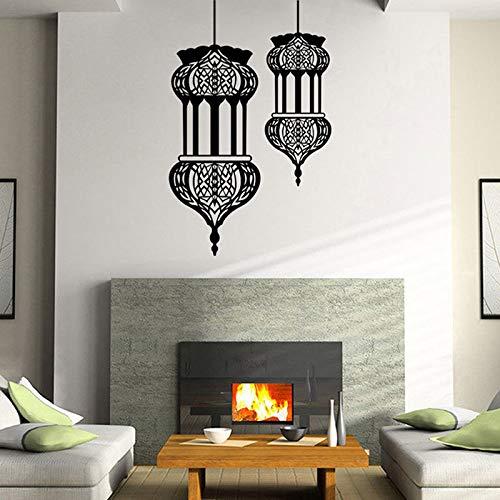 zhuziji Linterna islámica calcomanías de Pared Cultura Musulmana de Vinilo removible Interior decoración para el hogar Sala de Estar Dormitorio Arte Mural diseño calcomanía 86x135 cm